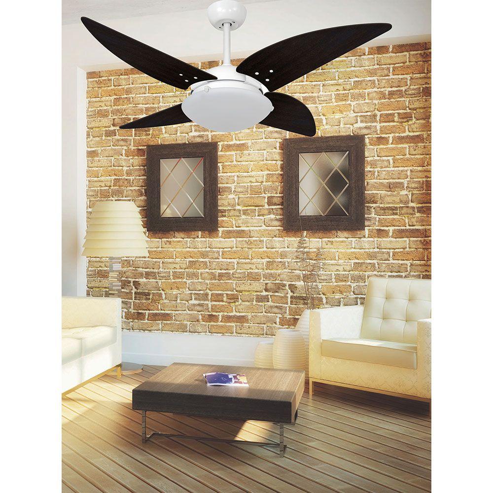 Ventilador de Teto Volare Branco Fosco VD300 Quad 4 Pás Tabaco