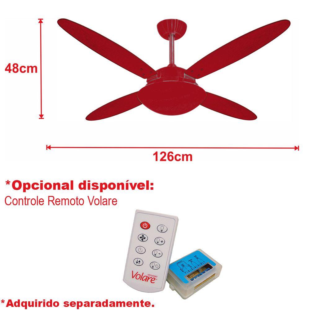 Ventilador de Teto Volare Branco Fosco VD42 Lanai 4 Pás Branco ou Tabaco
