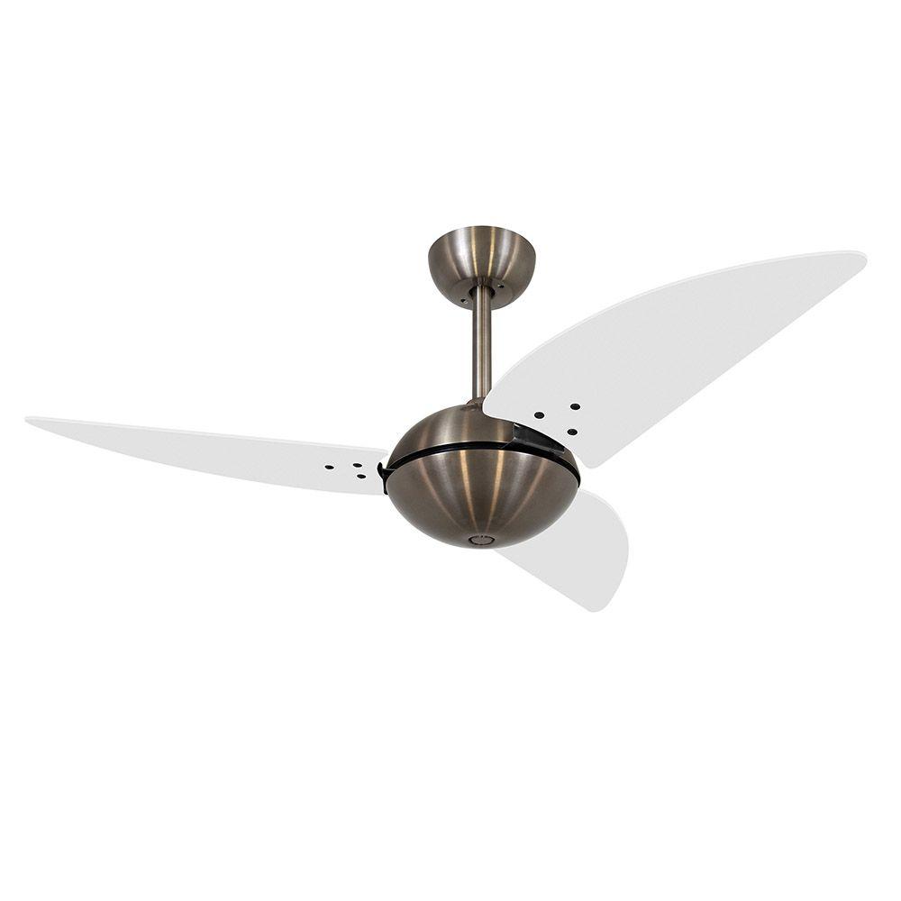 Ventilador de Teto Volare Bronze Office Class 3 Pás Branco