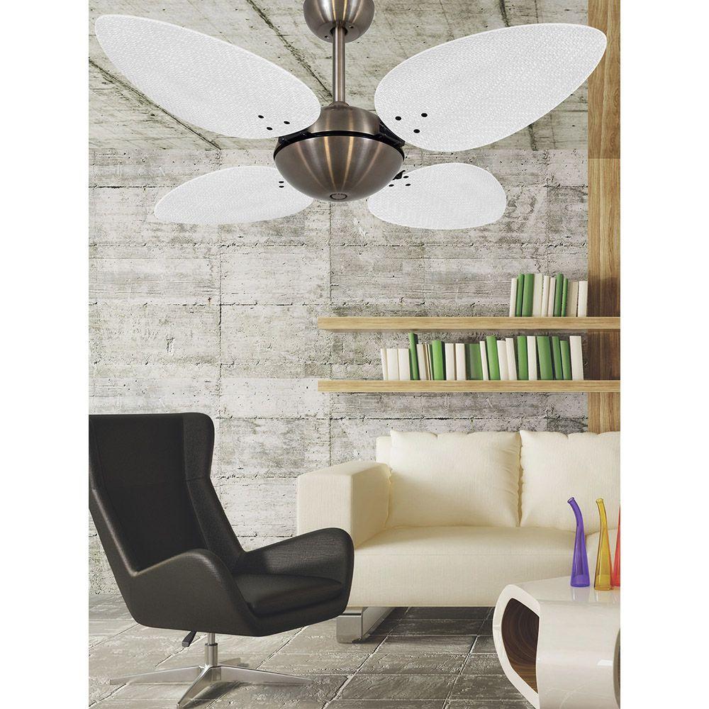Ventilador de Teto Volare Bronze Office Pétalo Palmae 4 Pás Branco