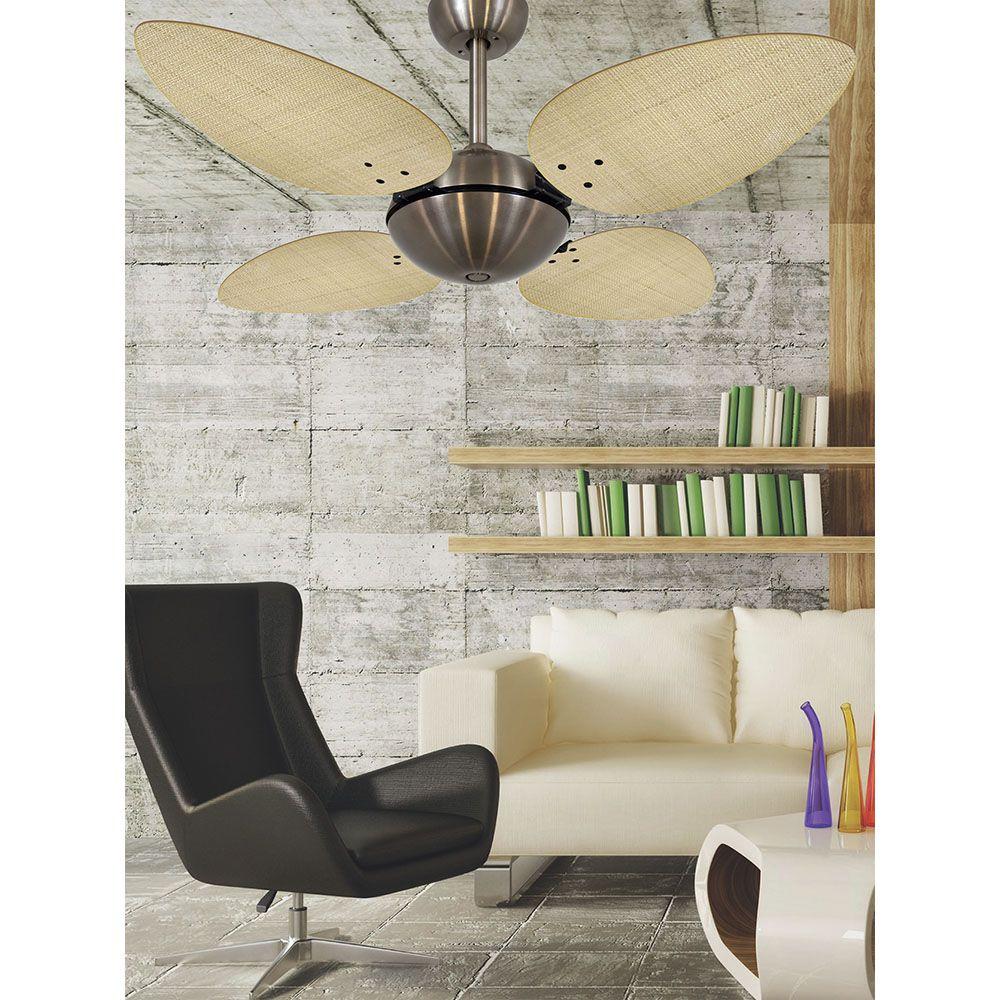 Ventilador de Teto Volare Bronze Office Pétalo Palmae 4 Pás Natural