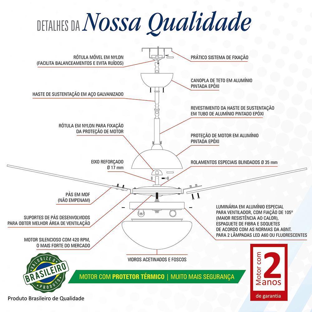 Ventilador de Teto Volare Bronze VD42 Dunamis 4 Pás Tabaco