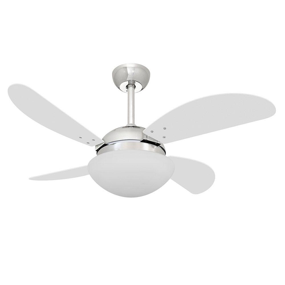 Ventilador de Teto Volare Cromo VD42 Fly 4 Pás Branco