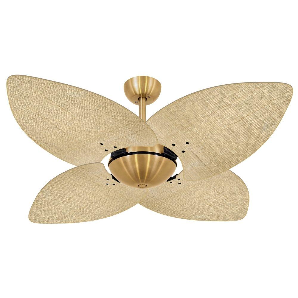 Ventilador de Teto Volare Dourado Office Dunamis Palmae 4 Pás Natural