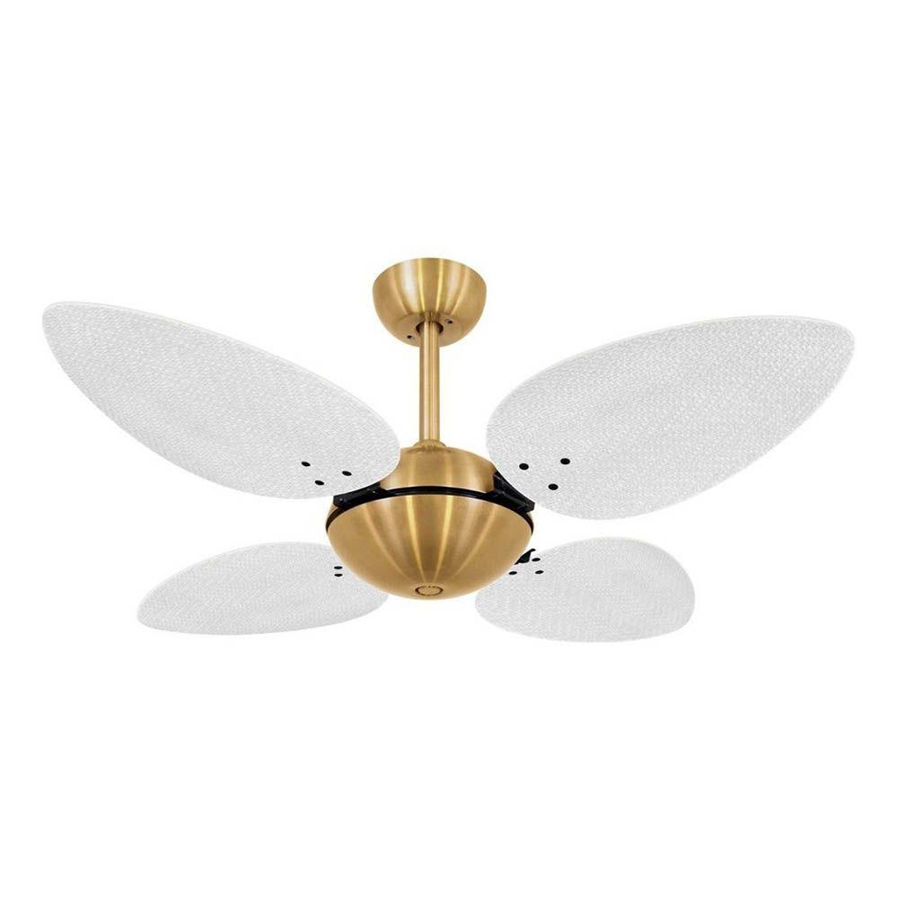 Ventilador de Teto Volare Dourado Office Pétalo Palmae 4 Pás Brancas