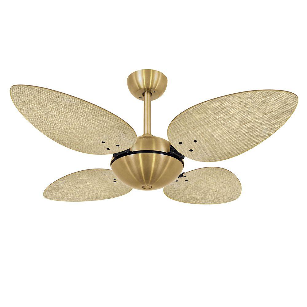 Ventilador de Teto Volare Dourado Office Pétalo Palmae 4 Pás Natural