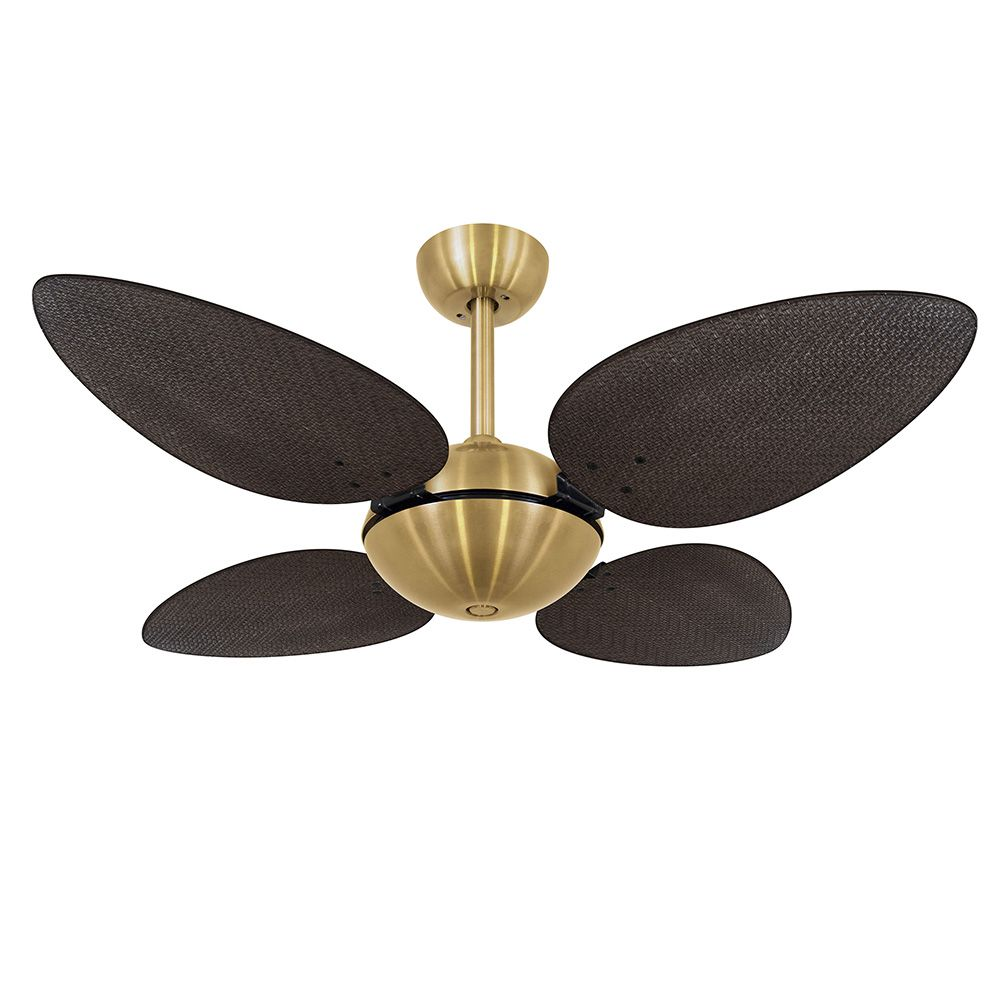 Ventilador de Teto Volare Dourado Office Pétalo Palmae 4 Pás Tabaco