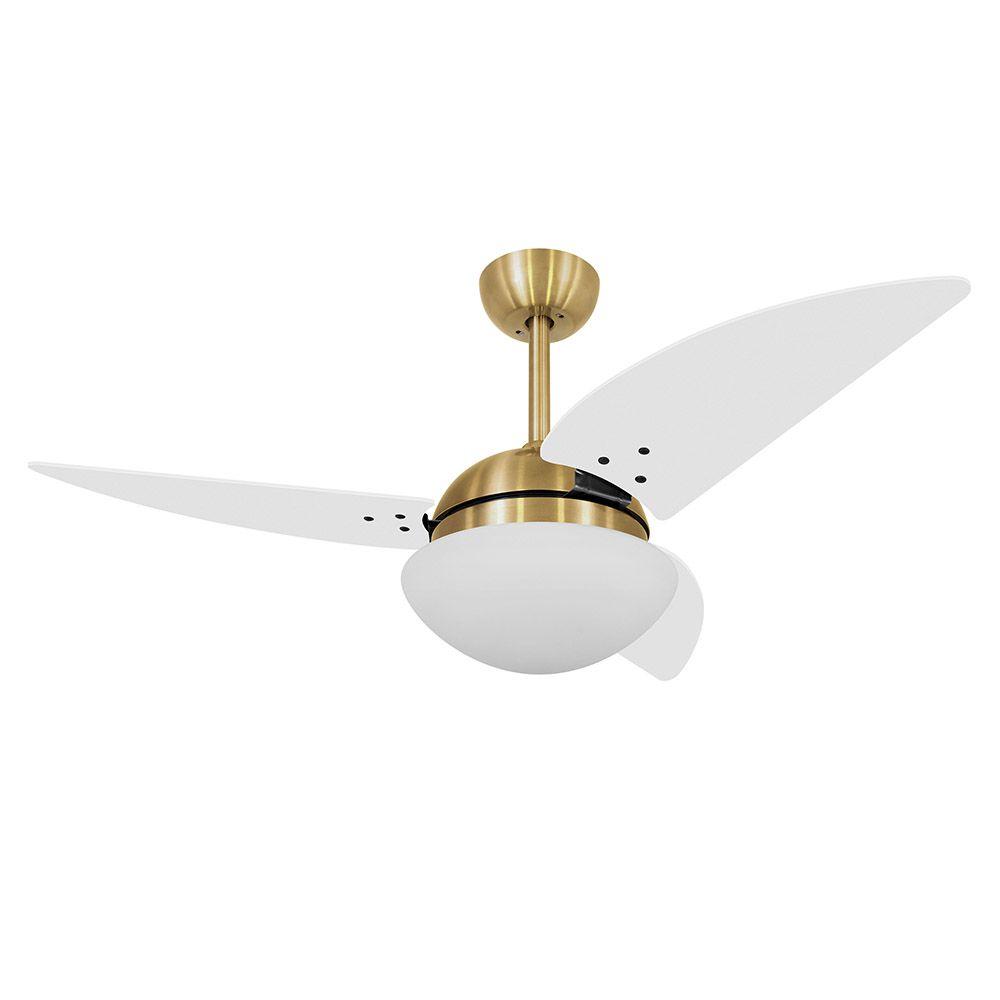Ventilador de Teto Volare Dourado VD42 Class 3 Pás Branco