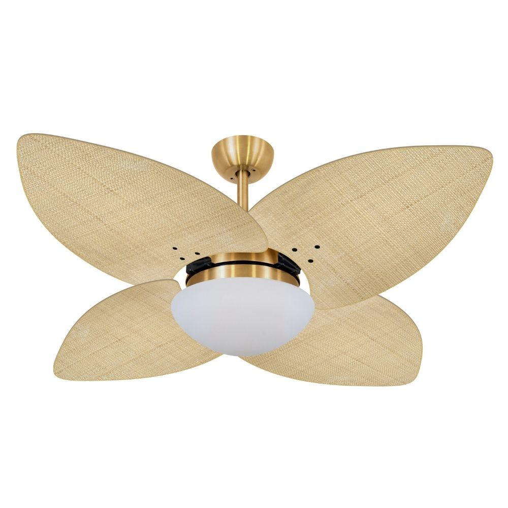 Ventilador de Teto Volare Dourado VD42 Dunamis Palmae 4 Pás Natural