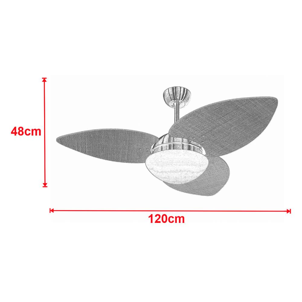 Ventilador de Teto Volare Dourado VD42 Dunamis S3 Palmae 3 Pás Tabaco