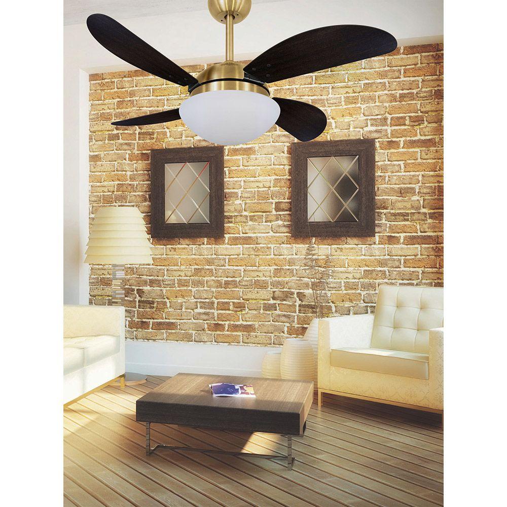Ventilador de Teto Volare Dourado VD42 Fly 4 Pás Tabaco