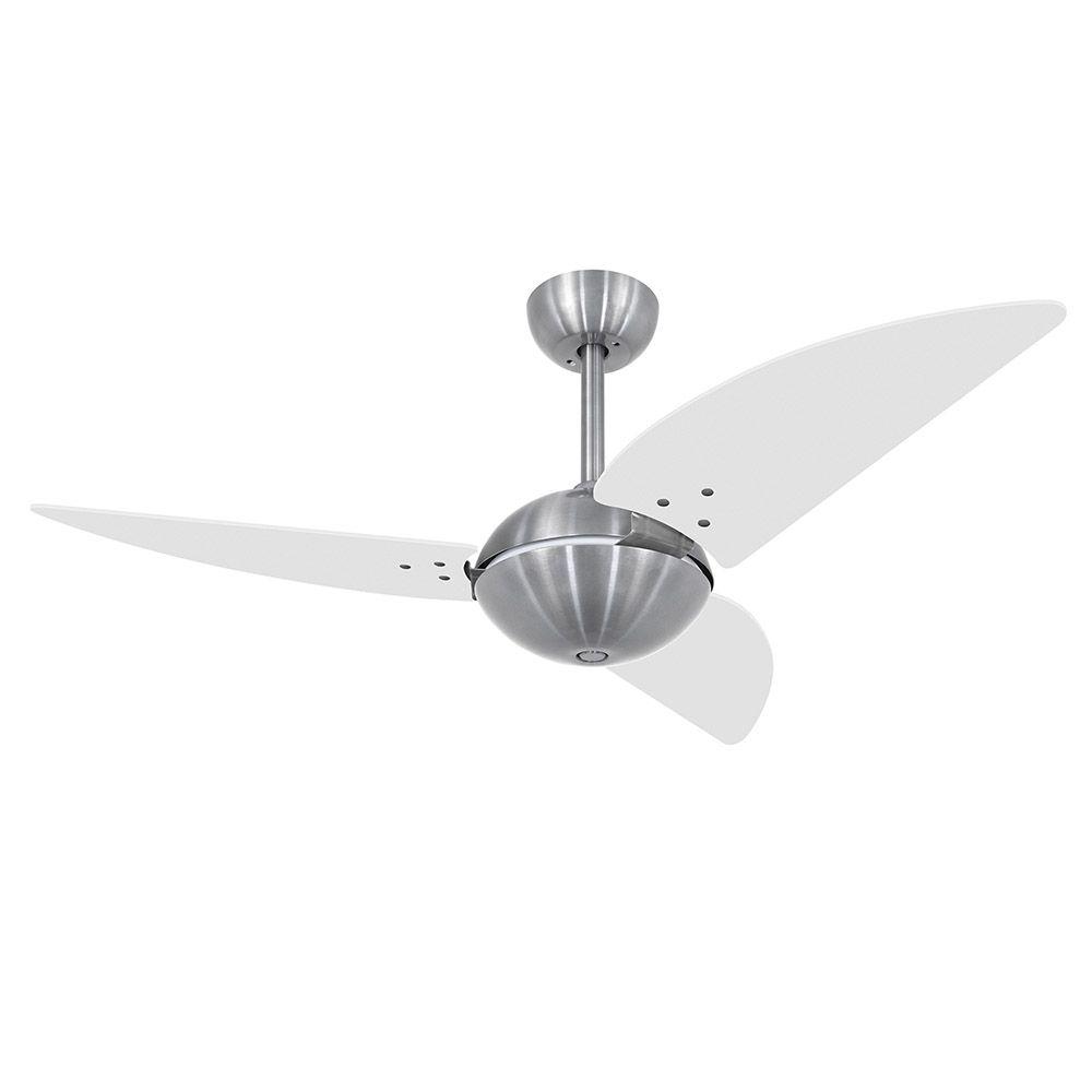 Ventilador de Teto Volare Escovado Office Class 3 Pás Branco