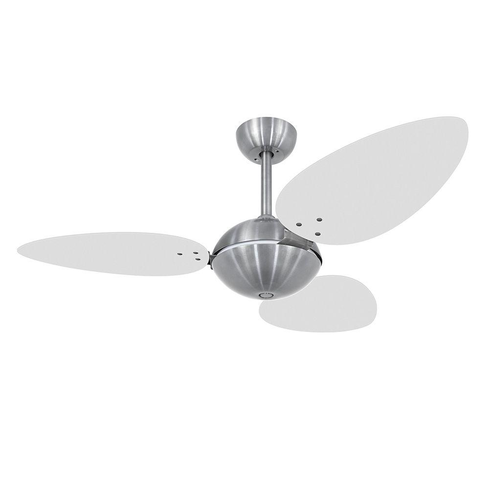 Ventilador de Teto Volare Escovado Office Pétalo 3 Pás Branco