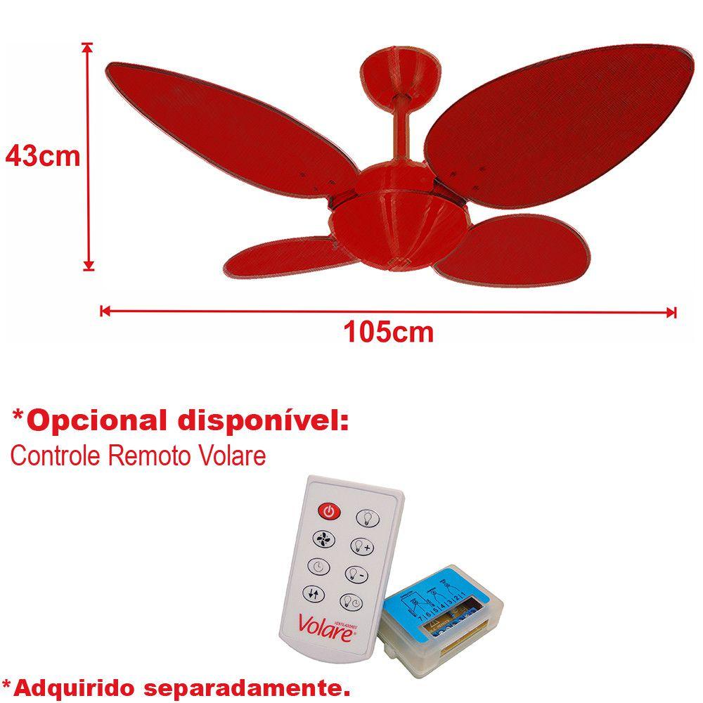 Ventilador de Teto Volare Escovado Office Pétalo 4 Pás Tabaco