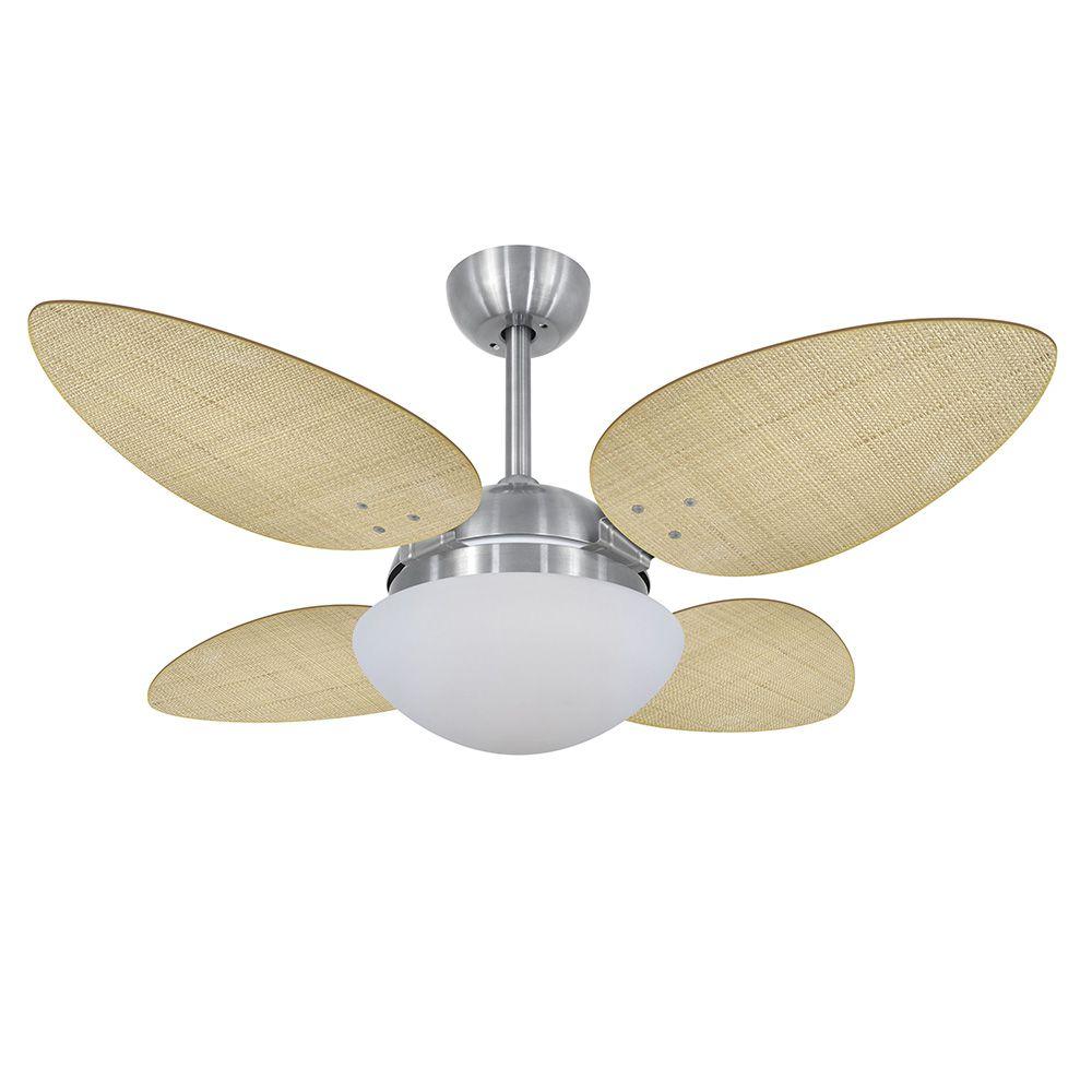 Ventilador de Teto Volare Escovado Office Pétalo Palmae 4 Pás Natural