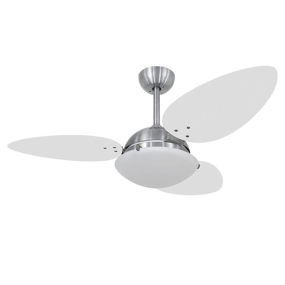 Ventilador de Teto Volare Escovado VD300 Pétalo 3 Pás Branco