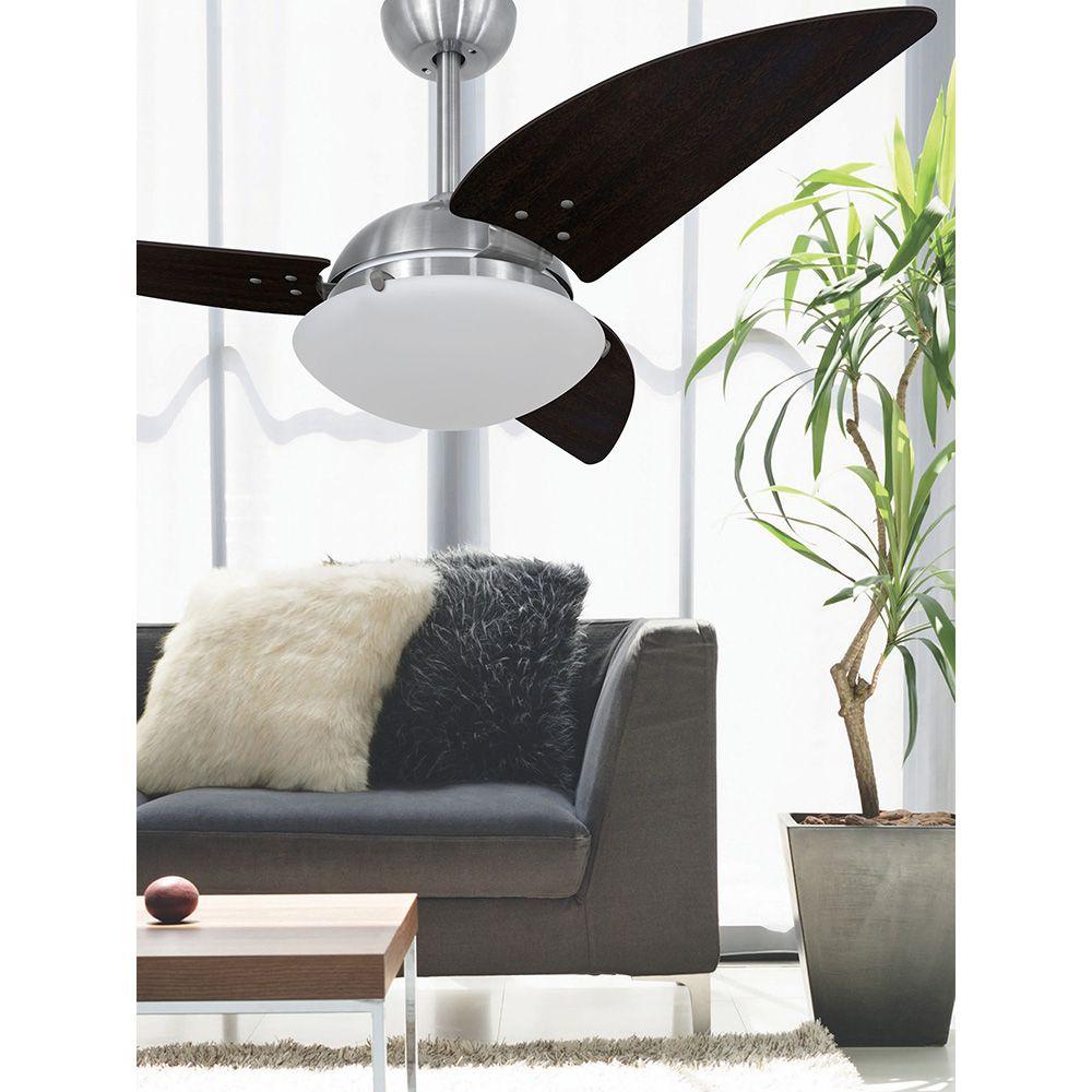 Ventilador de Teto Volare Escovado VD300 Class 3 Pás Tabaco