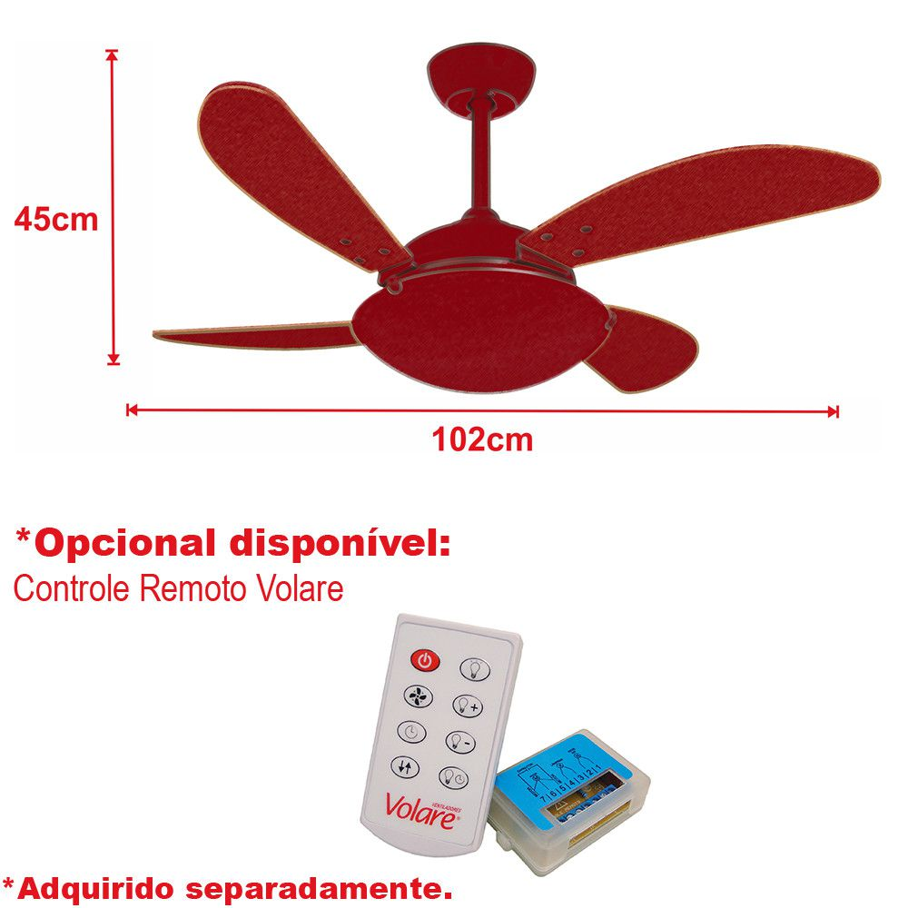 Ventilador de Teto Volare Escovado VD300 Fly 4 Pás Tabaco