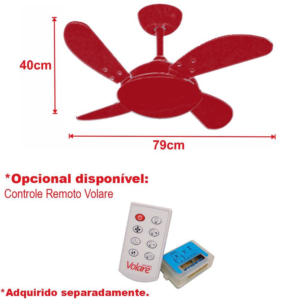 Ventilador de Teto Volare Escovado VD300 Mini Fly 4 Pás Titânio