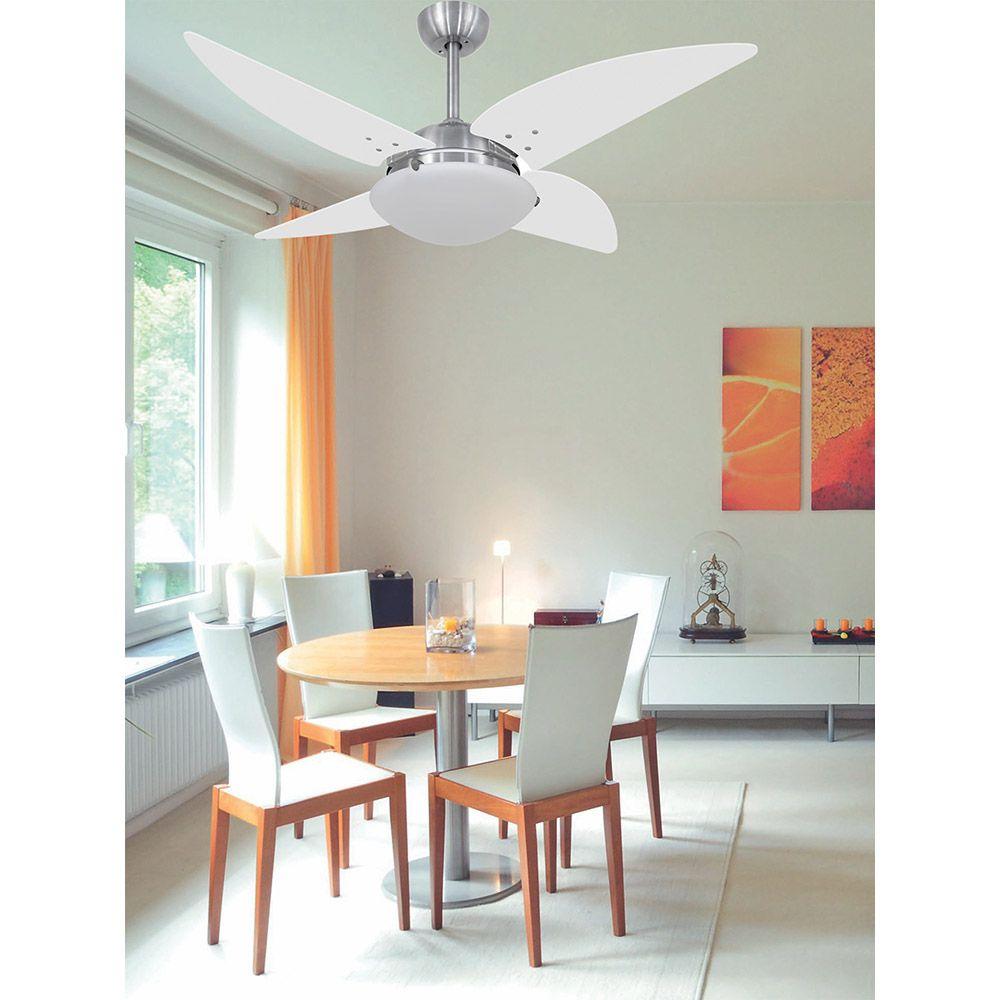 Ventilador de Teto Volare Escovado VD300 Quad 4 Pás Branco