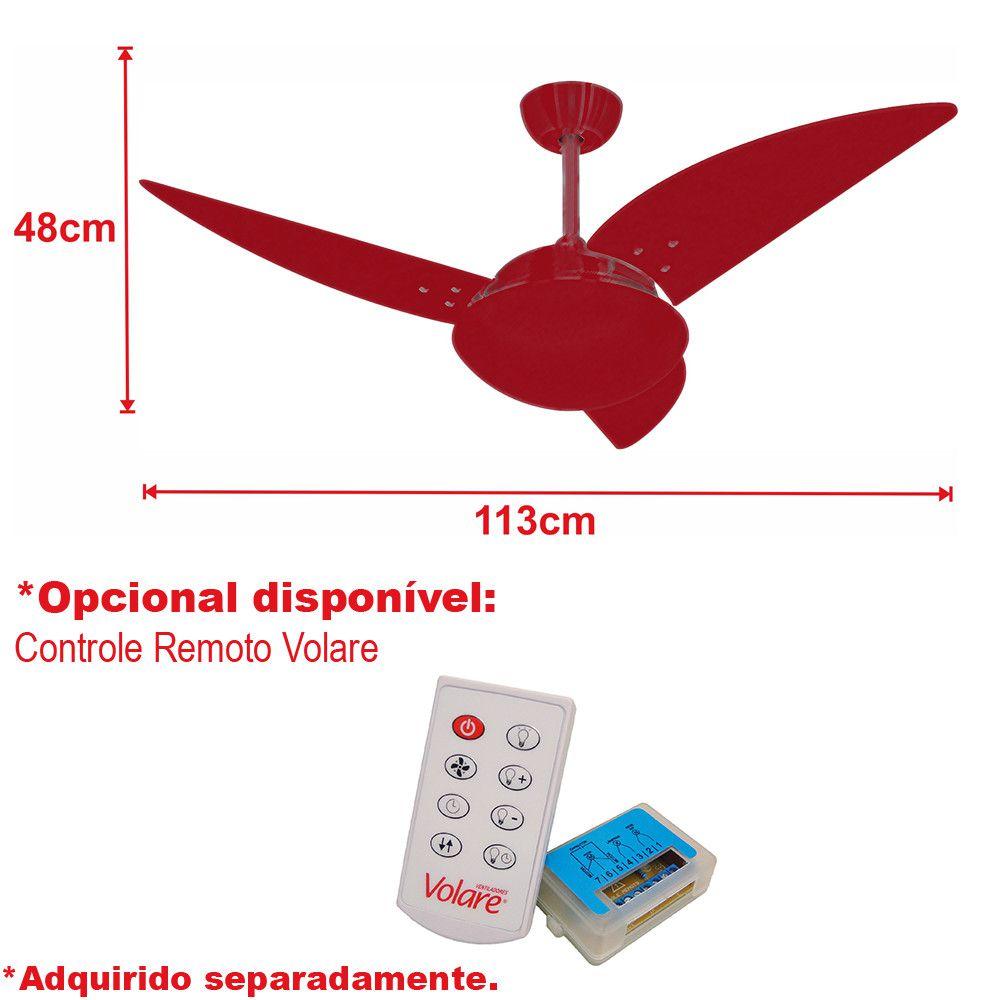 Ventilador de Teto Volare Escovado VD42 Class 3 Pás Tabaco