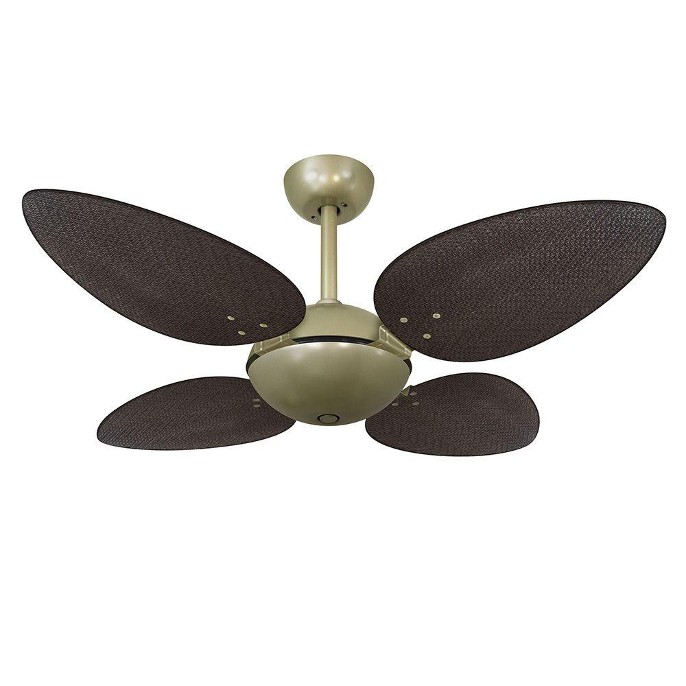 Ventilador de Teto Volare Gold Office Pétalo Palmae 4 Pás Tabaco