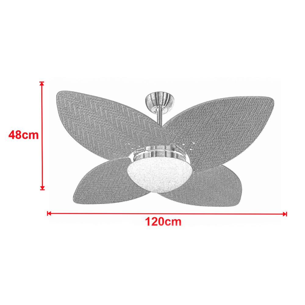 Ventilador de Teto Volare Marrom Texturizado VD42 Dunamis Palmae 4 Pás Branco