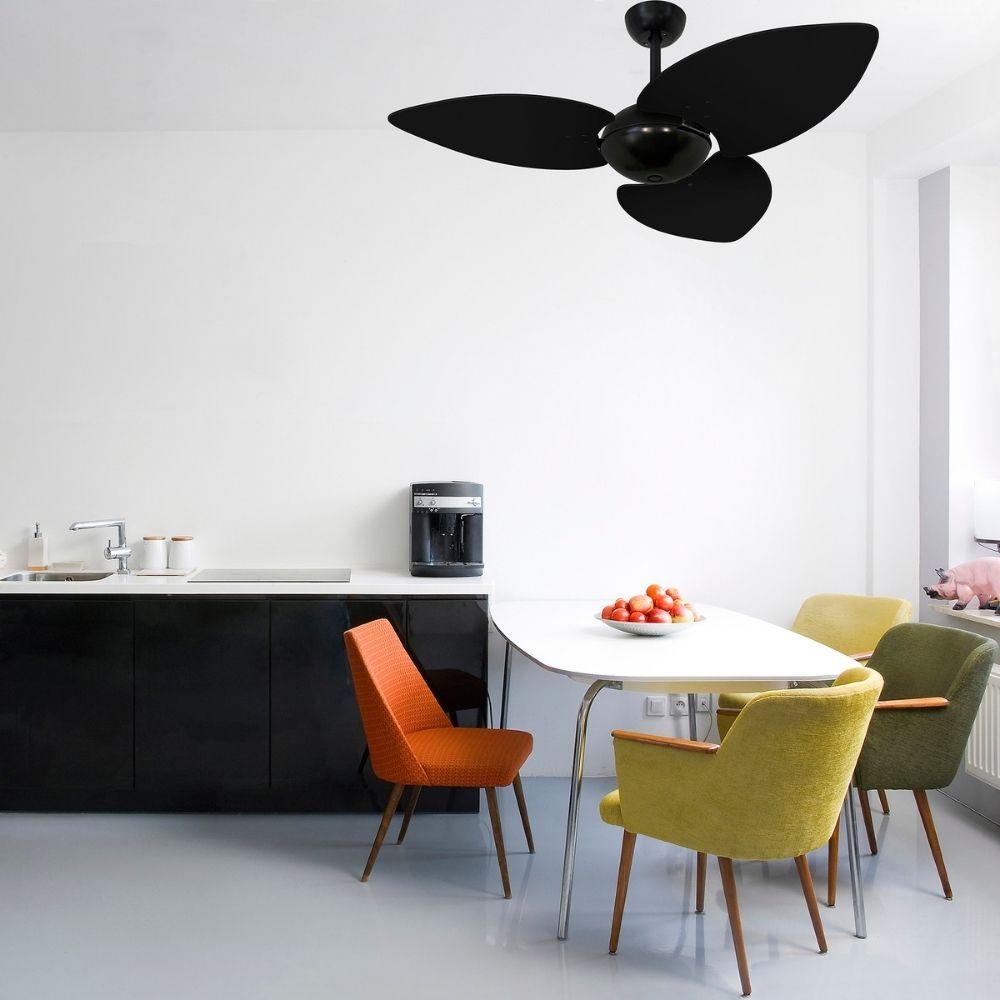 Ventilador de Teto Volare Nero Office Preto Dunamis S3 3 Pás Preto