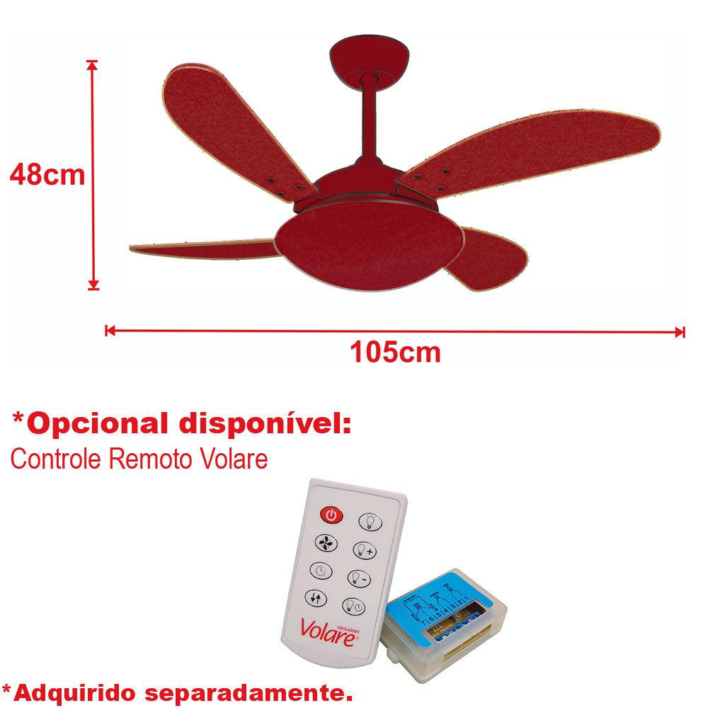 Ventilador de Teto Volare Nero Preto VD42 Fly 4 Pás Preto