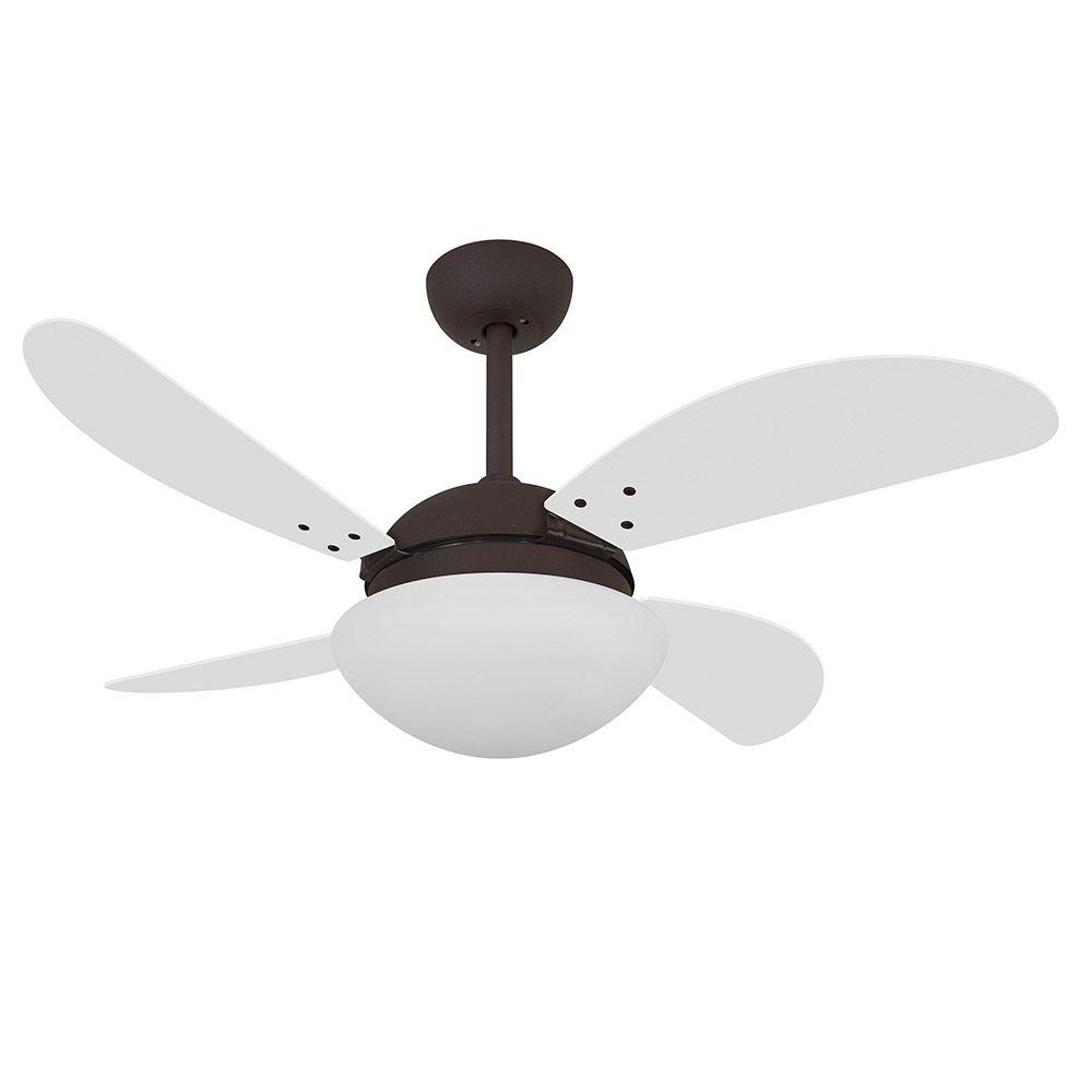 Ventilador de Teto Volare Marrom Corten VD42 Fly 4 Pás Branco