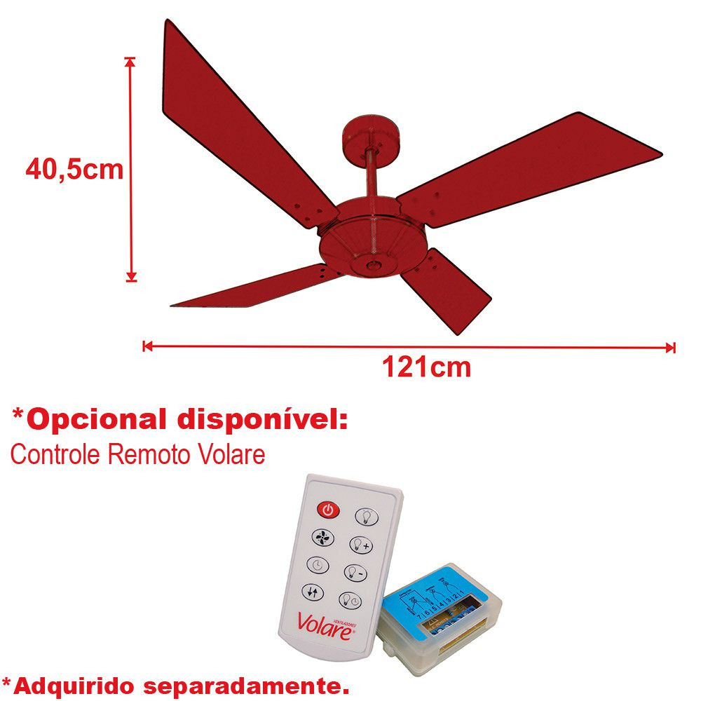 Ventilador de Teto Volare Tech Cobre New Office  4 Pás Tabaco