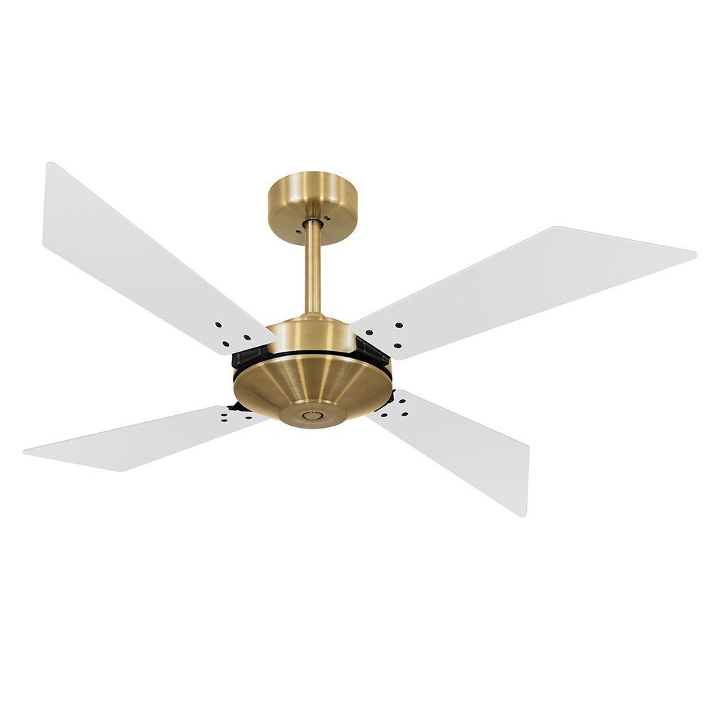 Ventilador de Teto Volare Tech Dourado New Office  4 Pás Brancas