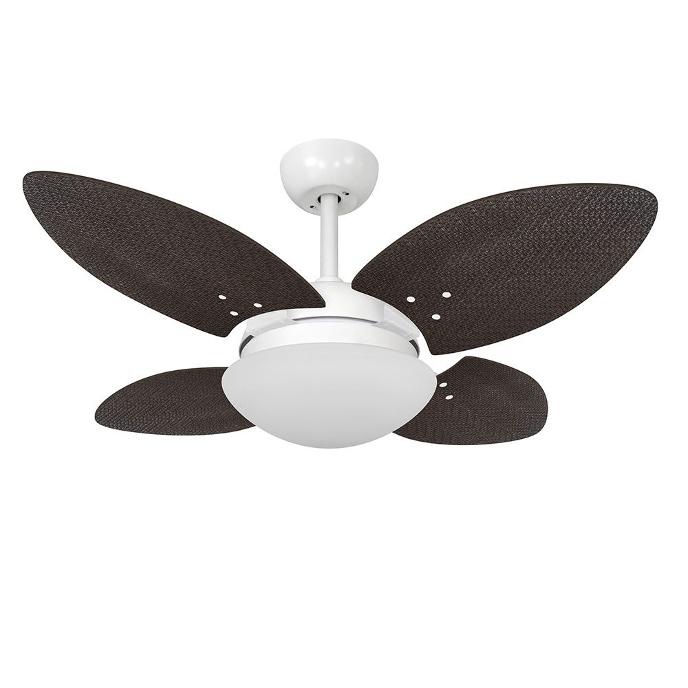 Ventilador de Teto Volare VD28 Mini Branco Fosco Pétalo Palmae 4 Pás Tabaco