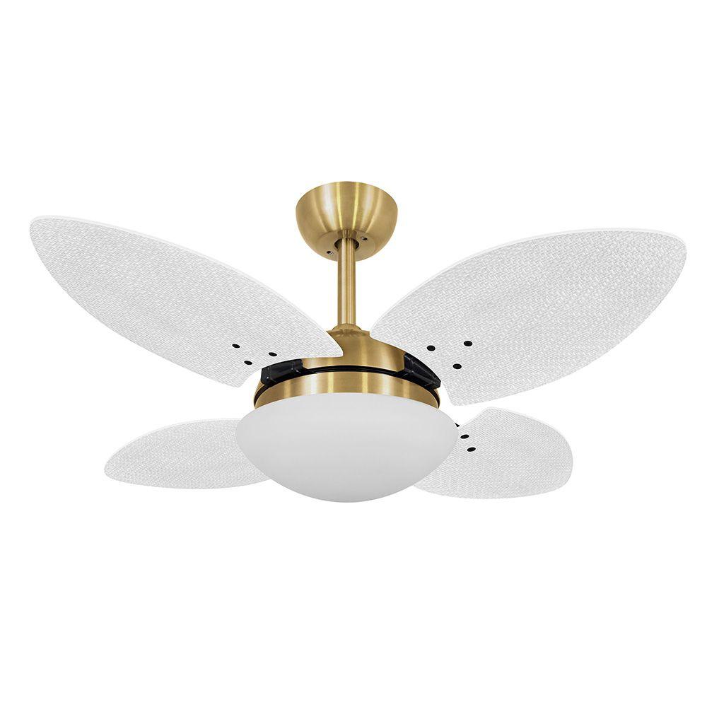 Ventilador de Teto Volare VD28 Mini Dourado Pétalo Palmae 4 Pás Branco