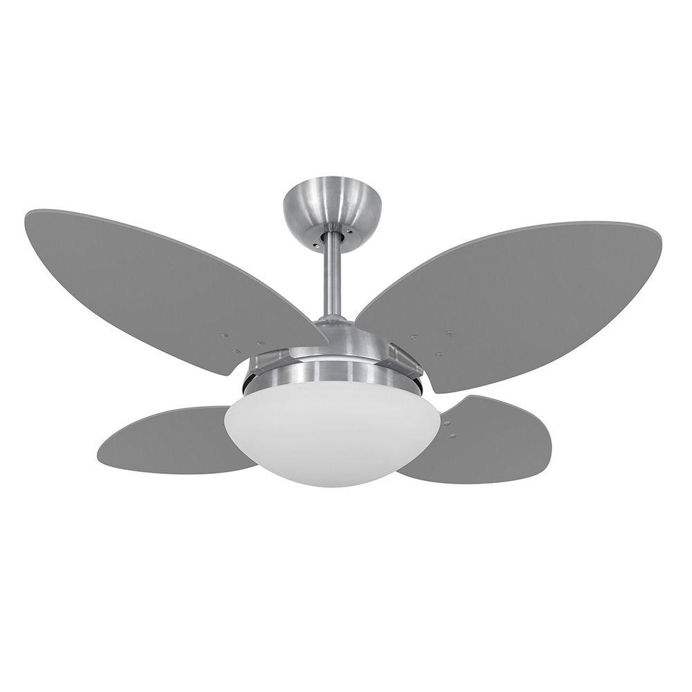 Ventilador de Teto Volare VD28 Mini Escovado Pétalo 4 Pás Titânio
