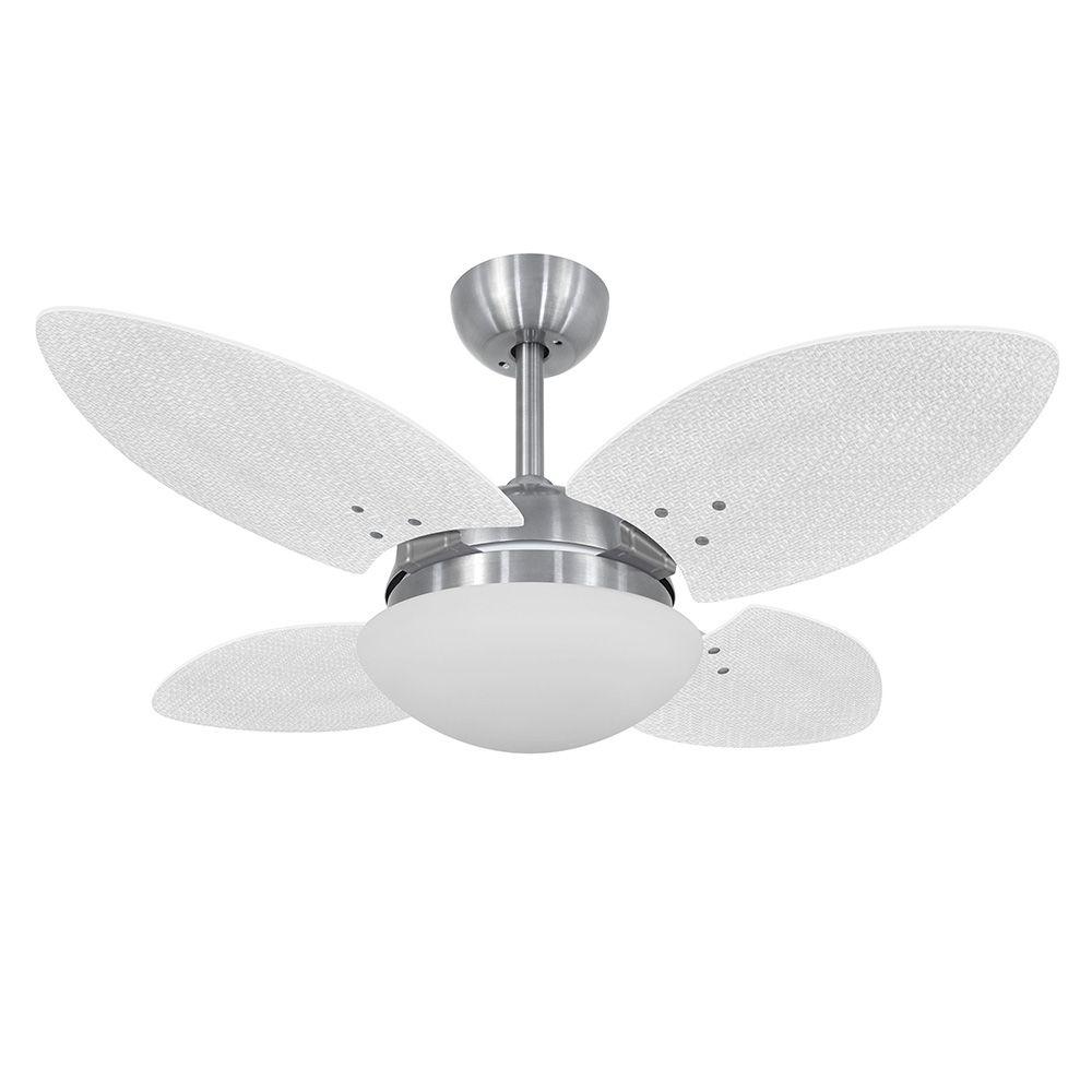Ventilador de Teto Volare VD28 Mini Escovado Pétalo Palmae 4 Pás Branco