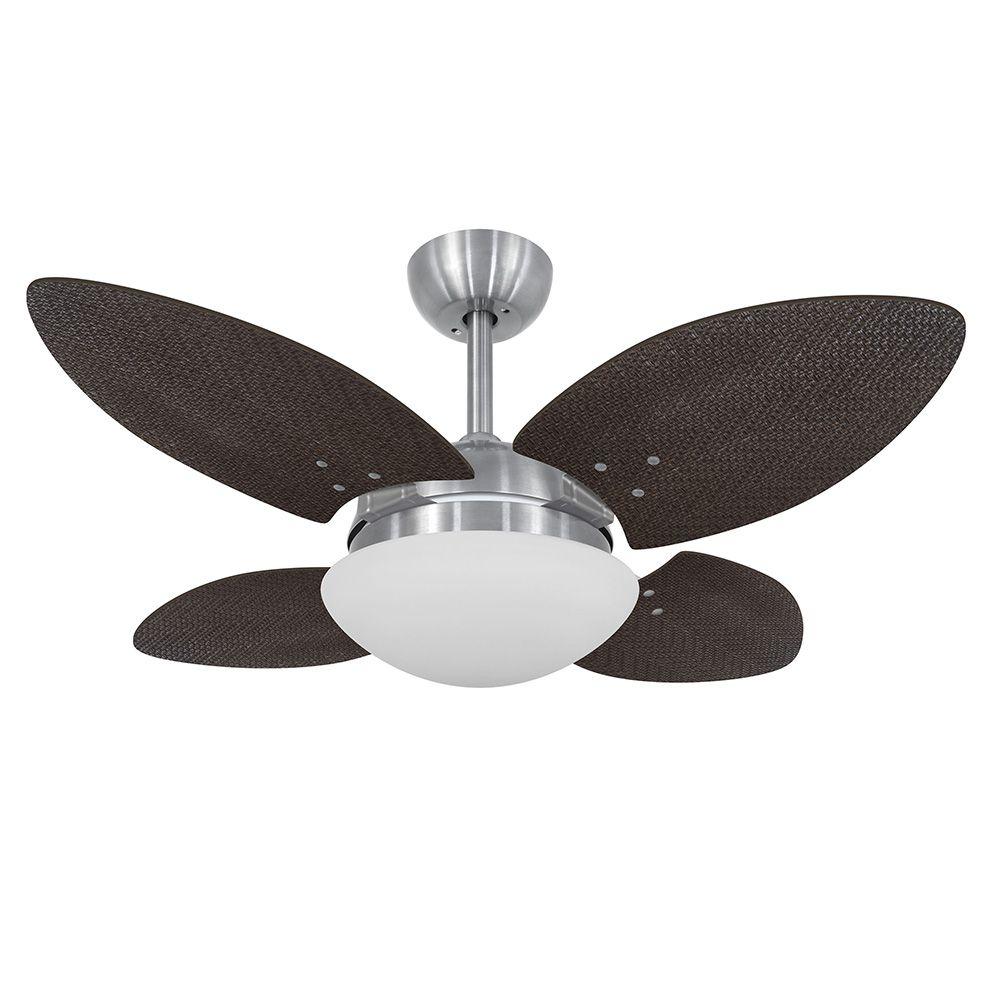 Ventilador de Teto Volare VD28 Mini Escovado Pétalo Palmae 4 Pás Tabaco