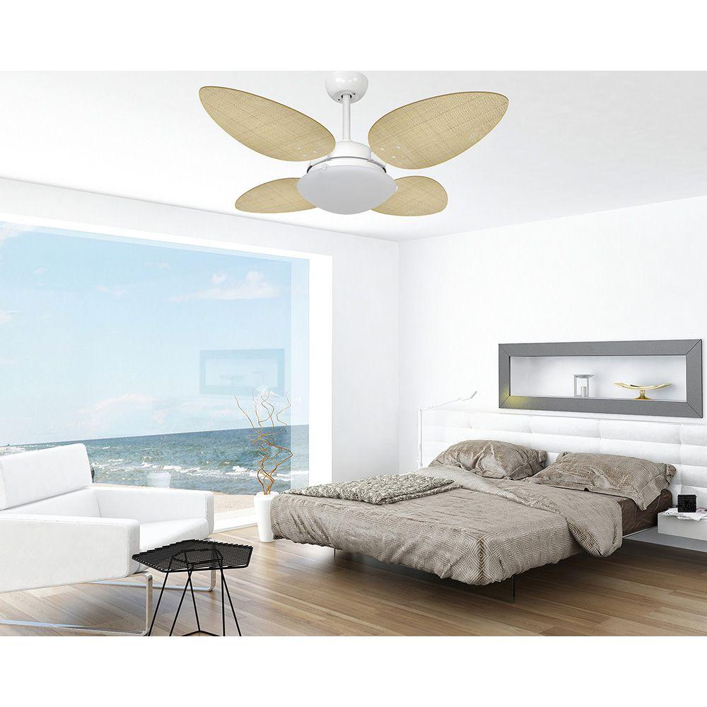 Ventilador de Teto Volare Branco Fosco VD300 Pétalo Palmae 4 Pás Natural