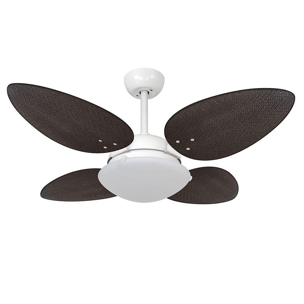 Ventilador de Teto Volare Branco Fosco VD300 Pétalo Palmae 4 Pás Tabaco