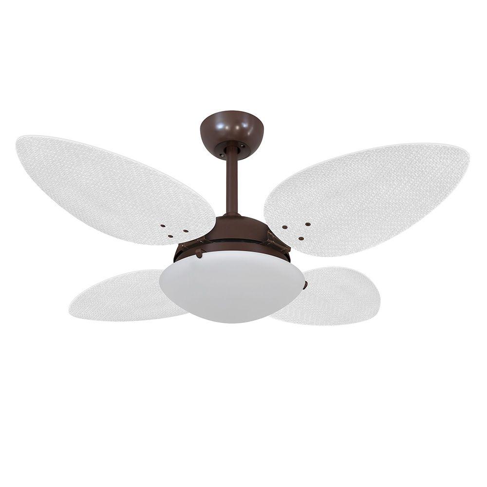 Ventilador de Teto Volare Café VD300 Pétalo Palmae 4 Pás Branco