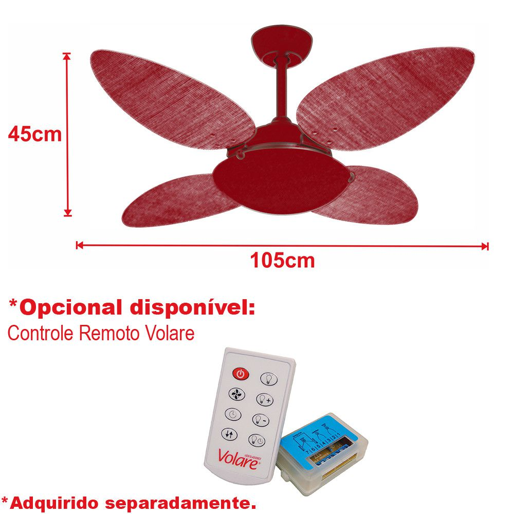 Ventilador de Teto Volare Café VD300 Pétalo Palmae 4 Pás Tabaco