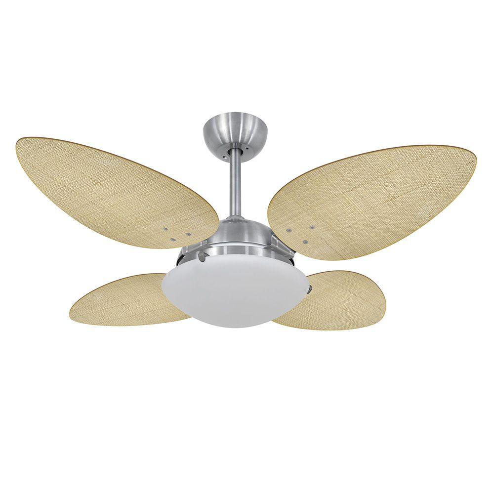 Ventilador de Teto Volare Escovado VD300 Pétalo Palmae 4 Pás Natural