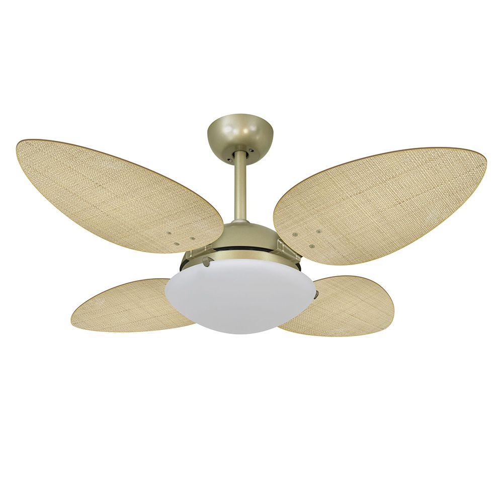 Ventilador de Teto Volare Gold VD300 Pétalo Palmae 4 Pás Natural