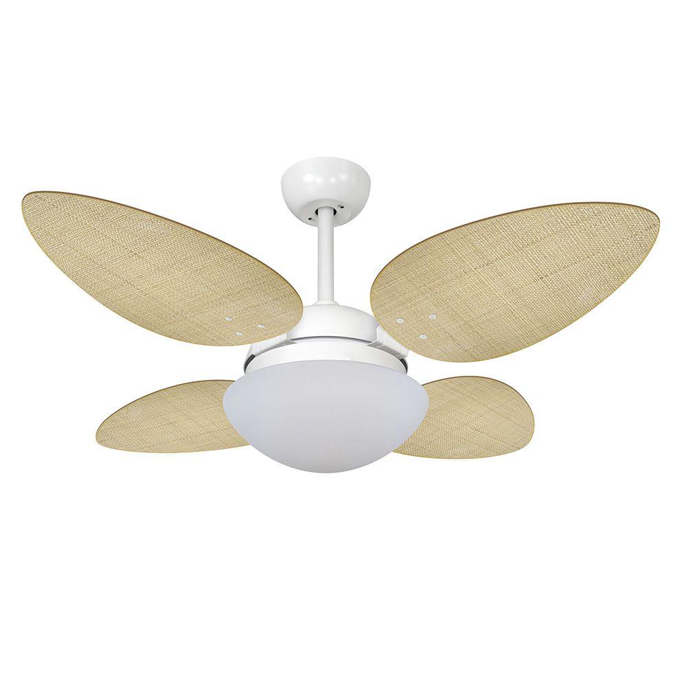 Ventilador de Teto Volare Branco Fosco VD42 Pétalo Palmae 4 Pás Natural