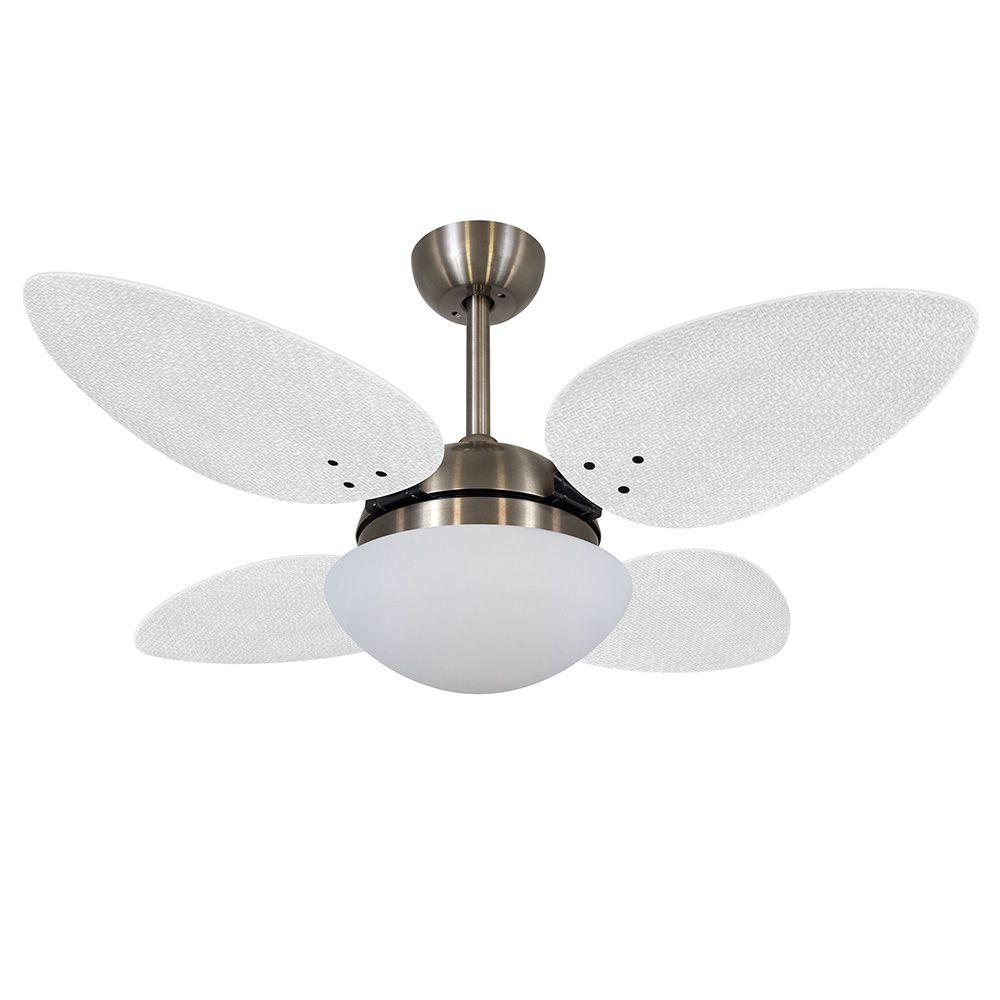 Ventilador de Teto Volare Bronze VD42 Pétalo Palmae 4 Pás Brancas