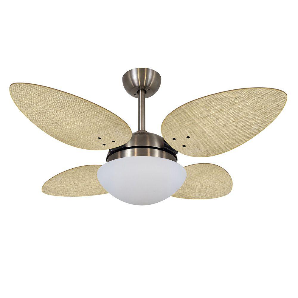 Ventilador de Teto Volare Bronze VD42 Pétalo Palmae 4 Pás Natural