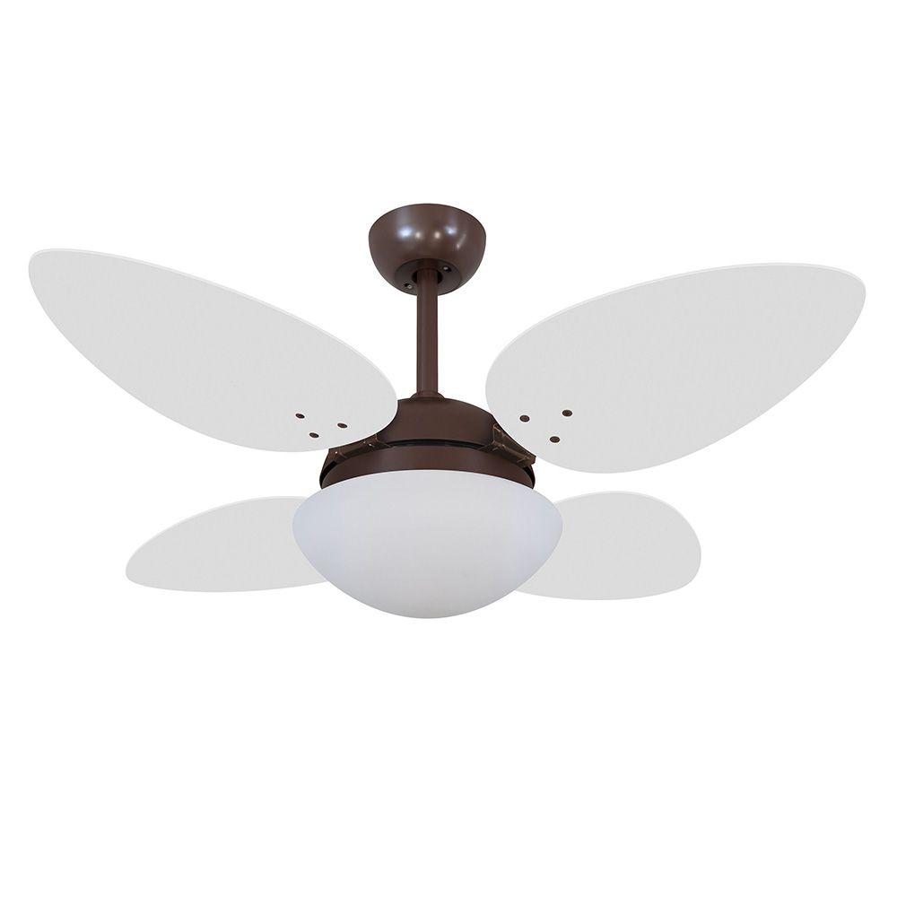 Ventilador de Teto Volare Café VD42 Pétalo 4 Pás Branco