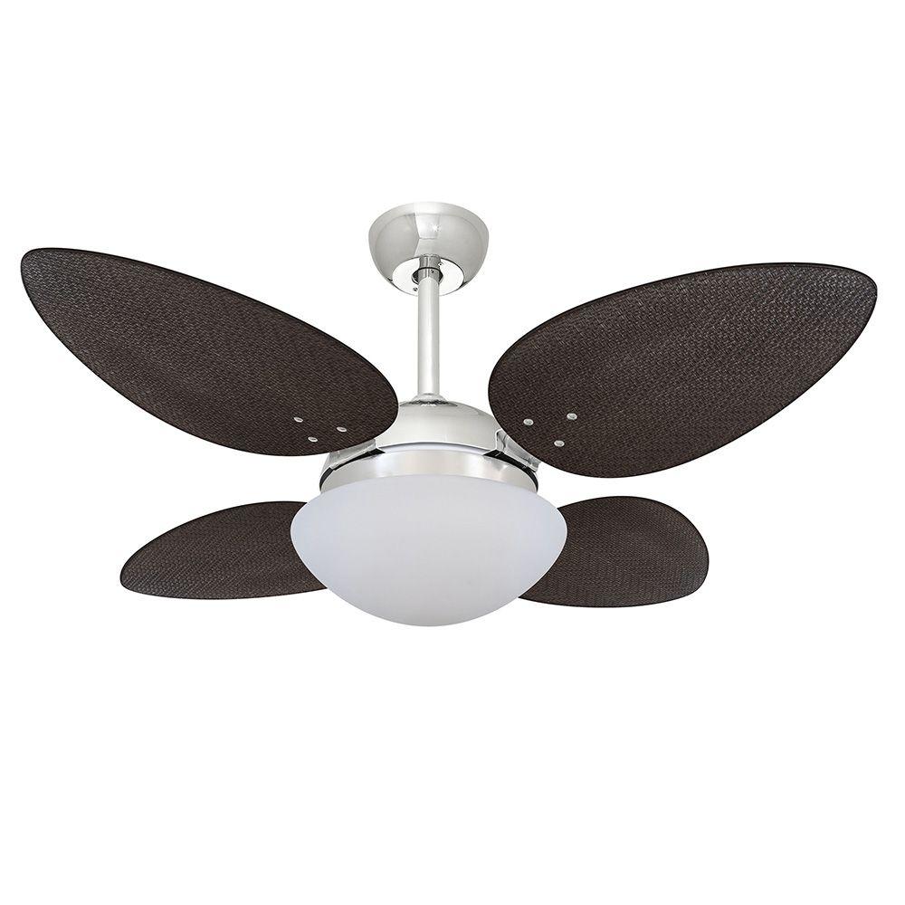 Ventilador de Teto Volare Cromo VD42 Pétalo Palmae 4 Pás Tabaco