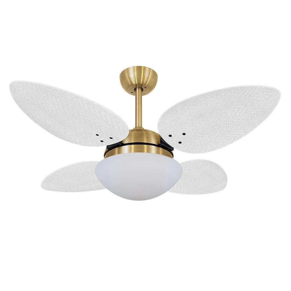 Ventilador de Teto Volare Dourado VD42 Pétalo Palmae 4 Pás Branco
