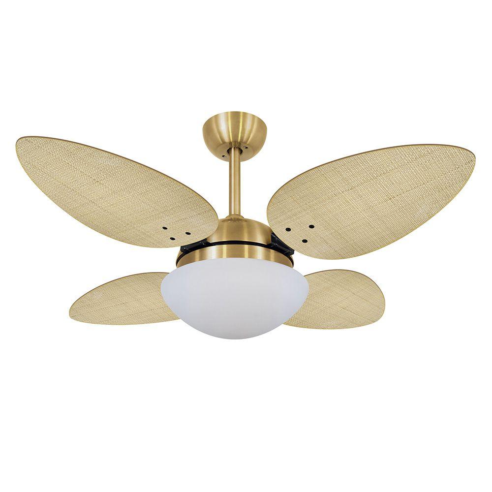 Ventilador de Teto Volare Dourado VD42 Pétalo Palmae 4 Pás Natural